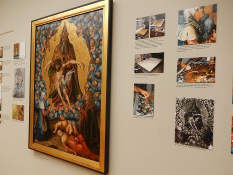 """Dokumentation der Maltechniken zu dem Bildnis """"Die Heilige Dreifaltigkeit"""" das man Ende des 19.Jhs auf dem Dachboden der Nikolakirche in Leipzig gefunden hat."""