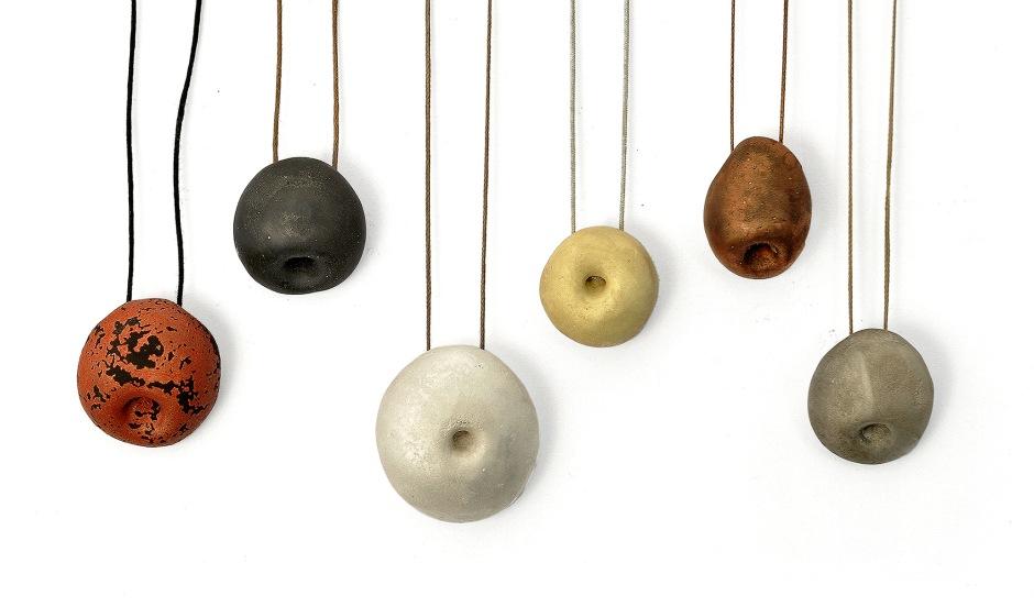 Peter Bauhuis: Albert, Kurt, Isaac, Muhamad,  Leonhard, Adam 7 pendants, silver, gold, copper, bronze, 2013
