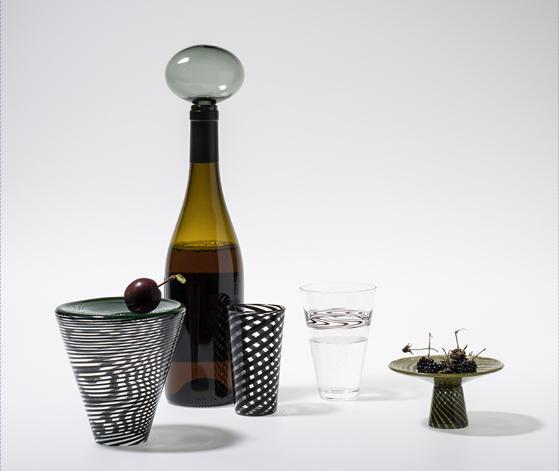 Designer Laurence Brabant og glasblæser Alain Villechange