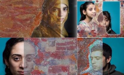 MANU FACTUM 2017 - Gewinner MEDIEN Ira Marom aus Köln, Serie von Portraits geflüchteter Menschen, gedruckt in Sand und auf Erde.