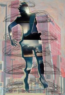 Wolkensprong, acrylverf, borduurzijde op doek, 80x115cm, Malou Busser