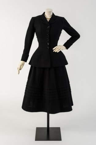Black wool New Look suit, called 'Daisy'. Christian Dior, worn by Margot Fonteyn, 1947