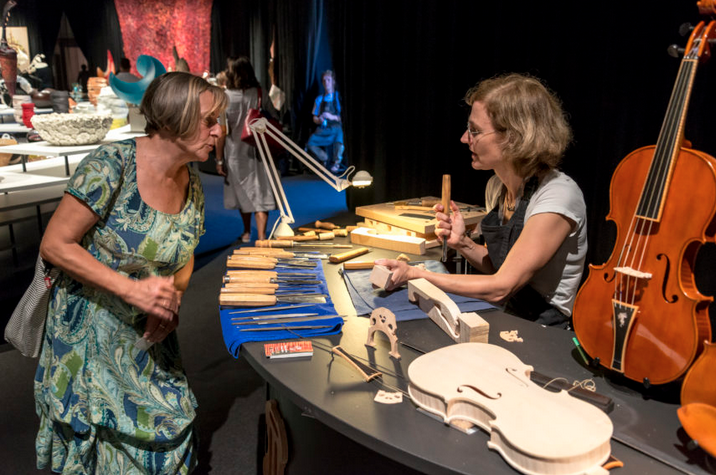 Ulrike Dederer, violin maker, in the Best of Europe exhibit. Photo: Nicolò Zanatta © Michelangelo Foundation