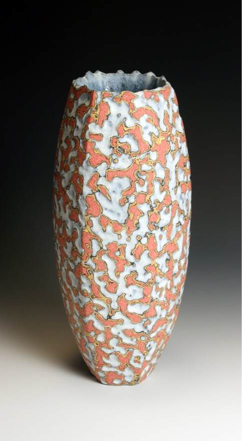 Peter Beard, Facetted red yellow orange ground vessel 31 cm h 13 cm across